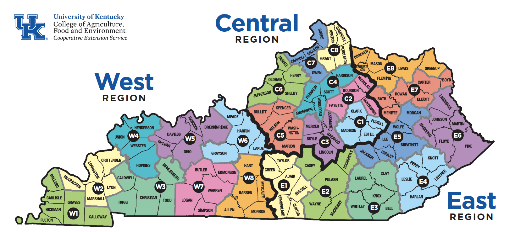 Map of Kentucky counties divided by Extension Areas and Extension Regions