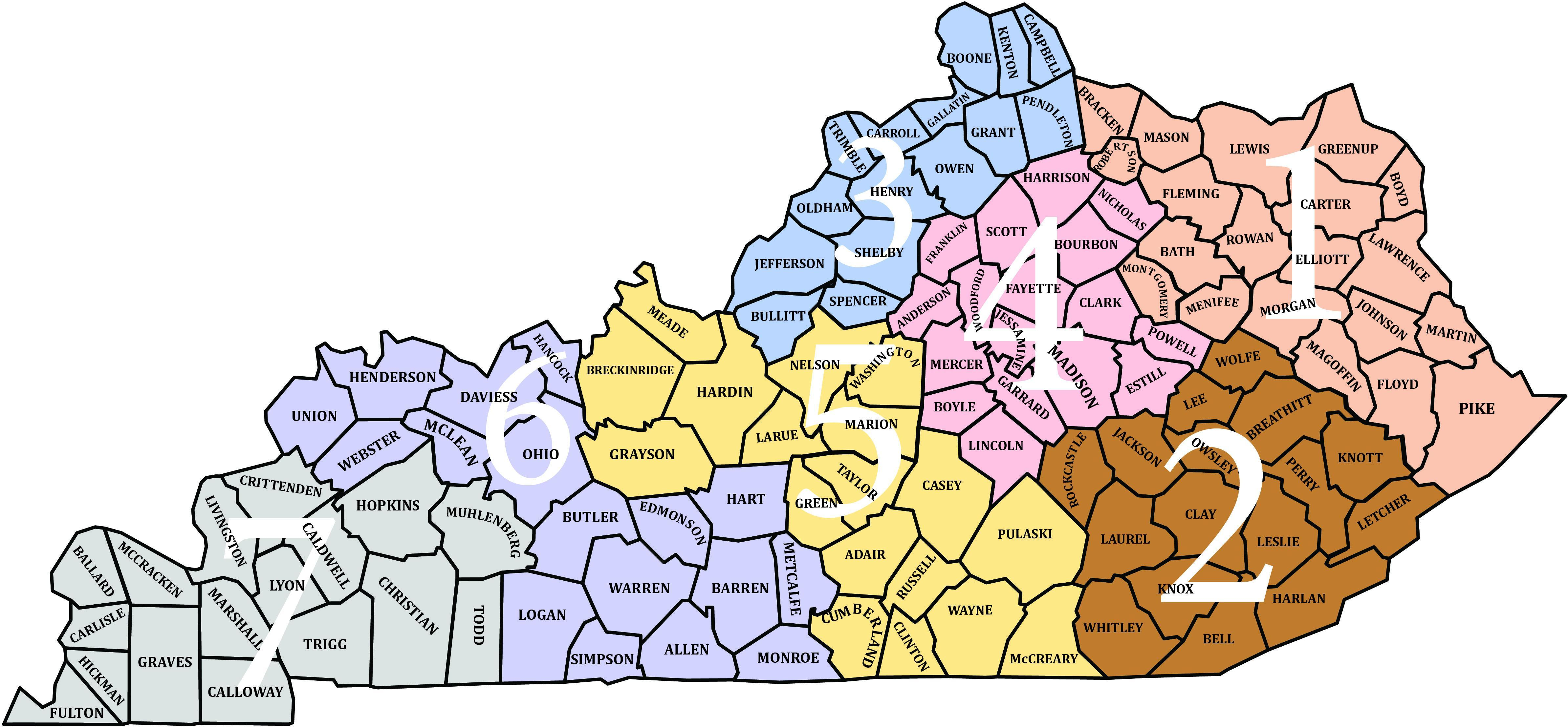 map of Kentucky district boundaries