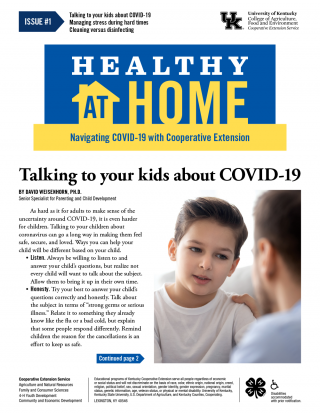 First page of the Healthy At Home Newsletter: click on the link for a PDF